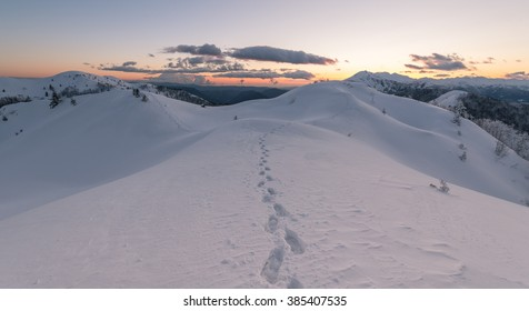 Traveling in the winter landscape at sunset.