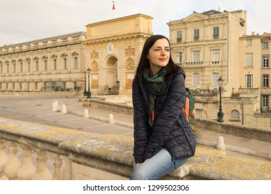 Traveling woman in France, Montpellier