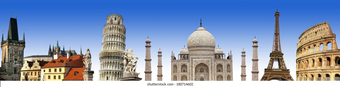 travelings background with famous landmarks