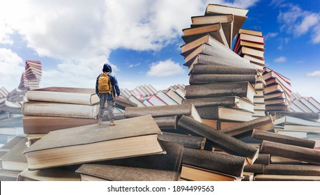 Traveller with backpack standing in fantasy mountains valley made of books.