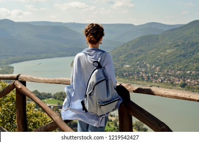 Traveller enjoying the panoramic view of Danube river band in Visegrad, Hungary