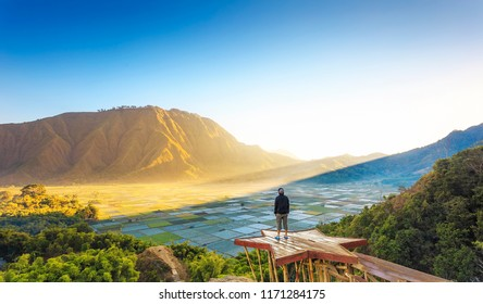 Traveller enjoying views wonderful farmland scenery at Sembalun near Rinjani volcano in Lombok, Indonesia. Traveling, freedom and active lifestyle concept.