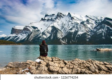 Traveller at Lake Minnewanka