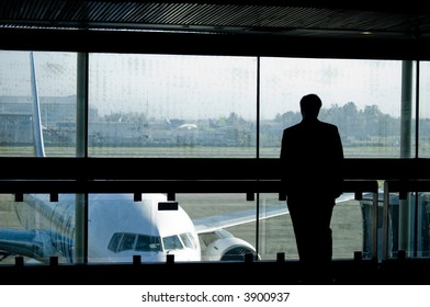 Traveller waiting for his plane