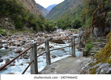 Travelling in Nepal: landscapes, bridges, local people, animals near Taplejung, Kanchenjunga trek.