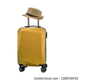 Travelling suitcase with hat on white background.
