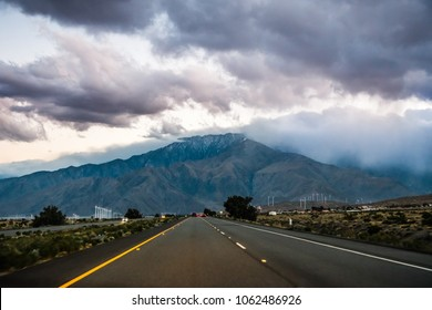 Travelling at sunset towards Mt San Jacinto, Coachella Valley, California