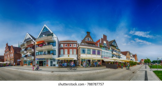 TRAVEMUNDE, GERMANY - JULY 2016: Panoramic view of city streets. Travemunde is a major attraction in Germany.