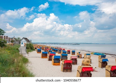 TRAVEMUNDE, GERMANY - JUNE 16, 2016: View over the beach of Travemunde at the Baltic Sea