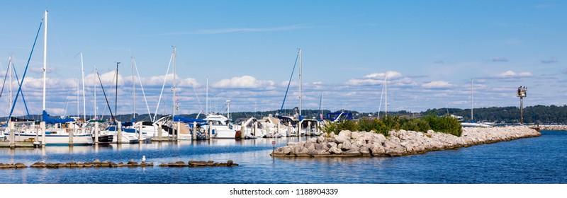 Traverse City Harbors Marinas. Panoramic image.
