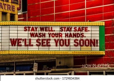 TRAVERSE CITY, MI - MARCH 16, 2020:  Closed movie theatre on the day the state announces closure of bars and restaurants in Michigan at 3:00 p.m. due to coronavirus/COVID-19.