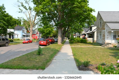 Traverse City, Michigan, USA, August 13, 2018: Street view of classical private house architecture of America