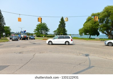 Traverse city, Michigan, USA, August 13, 2018:  View of the Traverse city intersection