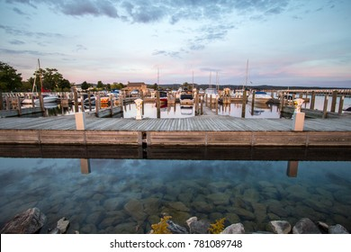Traverse City, Michigan, USA - October 2, 2017: Marina filled with recreational boats in downtown Traverse City Michigan.