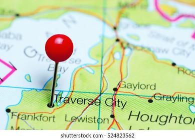 Traverse City pinned on a map of Michigan, USA