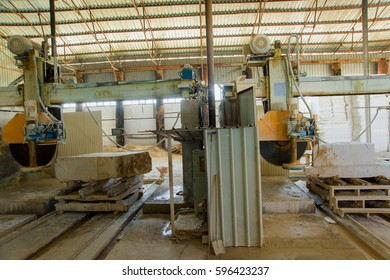 Travertine block saw cutting machine. Travertine sawing machine