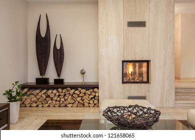 Travertine house: interior of comfortable contemporary living room