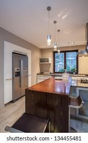 Travertine house- Modern furniture in  luxury kitchen