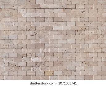 Travertine mosaic bricks beige color texture