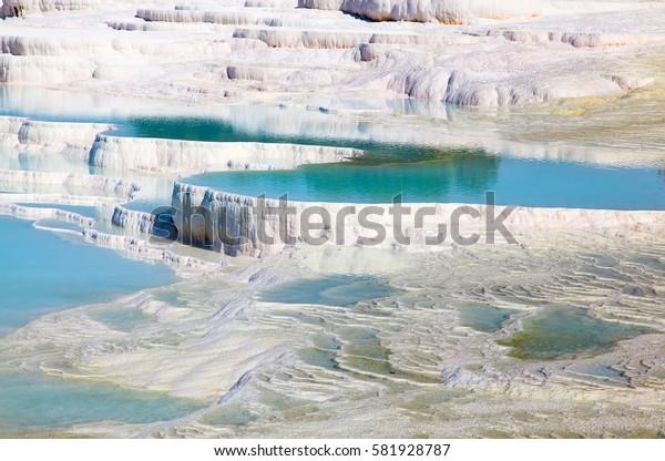 Travertine pools and terraces at Pamukkale, Turkey
