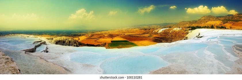 Travertine pools and terraces panorama, Pamukkale, Turkey