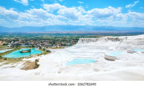 Travertine terrace formations at Pamukkale, Turkey