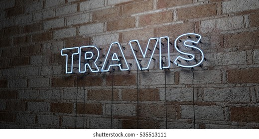 TRAVIS - Glowing Neon Sign on stonework wall - 3D rendered royalty free stock illustration.  Can be used for online banner ads and direct mailers.