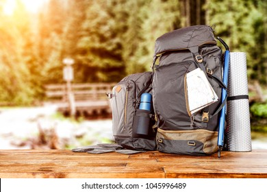 Travle backpack and river with forest