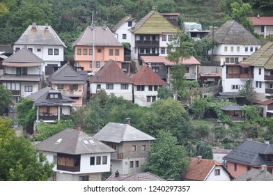 Travnik Bosna i Hercegovina October 9th 2015 View from the old town on the city valley with roofs mosques hill