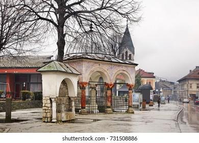 TRAVNIK. BOSNIA AND HERZEGOVINA. 02 APRIL 2013 : Bosanska street in Travnik. Bosnia and Herzegovina
