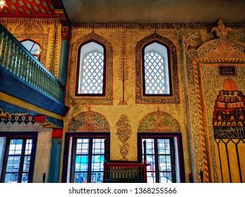 Travnik, Bosnia and Herzegovina, 13-April-2019: Colorful interior of mosque in place Travnik