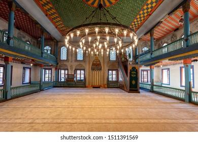 Travnik, Bosnia and Herzegovina - 20 September 2019 - Interior of Sulejmanija mosque - Multi-Colored Mosque - in Travnik