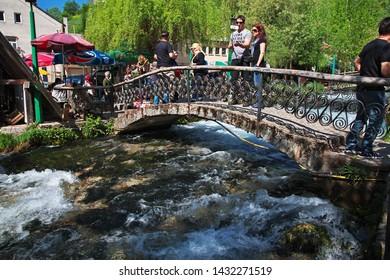 Travnik / Bosnia and Herzegovina - 28 Apr 2018: The river in Travnik, Bosnia and Herzegovina