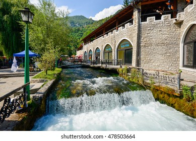 Travnik, Bosnia and Herzegovina - August 10, 2016: Fresh water flowing from one of the creek at Plava Voda area in Travnik, Bosnia.