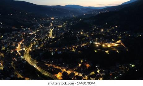 Travnik, Bosnia-Herzegovina 6.7.2019. Panorama of Travnik at night
