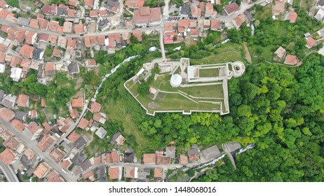 Travnik, Bosnia-Herzegovina 7.6.2019. Travnik's fortress and its oldest neighbourhood from the skies, 300 metres photo