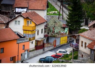Travnik,  Central Bosnia Canton / Bosnia and Herzegovina - 04.27.2014: Beautiful view of Travnik, city in Bosnia and Herzegovina