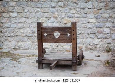Travnik,  Central Bosnia Canton / Bosnia and Herzegovina - 04.27.2014: guillotine in Travnik Fortress
