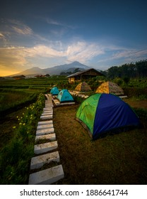 Trawas is a village with beautiful sunrise and sunset views with many terraced rice fields. This village is located in Trawas sub-district, Mojokerto, East Java, Indonesia. - Shutterstock ID 1886641744