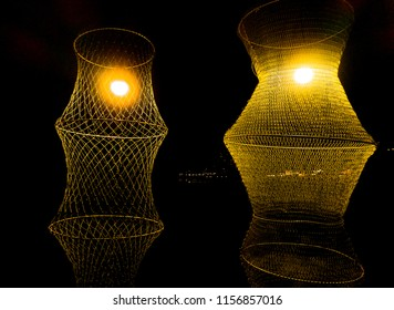 trawl for fish catches, Diy for decoration with light in the night sky