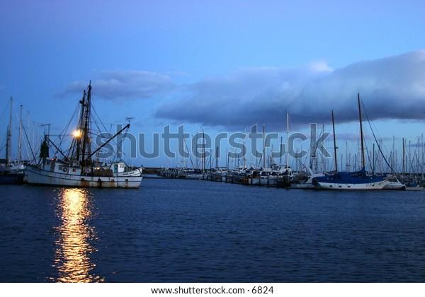 trawler at dawn