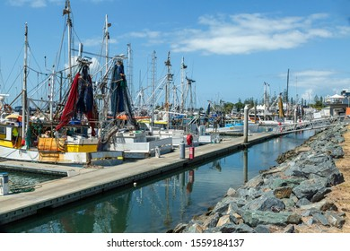 Trawlers at marina in Scarborough Redcliffe Queensland Australia. This area is part of Morton Bay region.