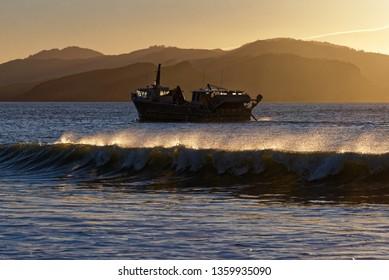 Trawling at sun rise