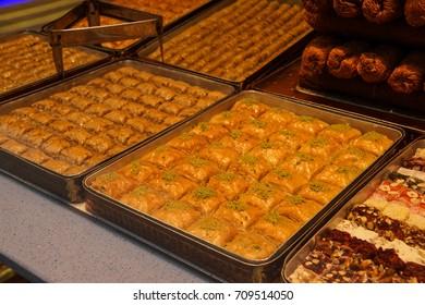 Tray of baklava in shop window,  in Istanbul, Turkey