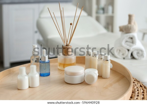 Tray with beautiful spa composition in salon