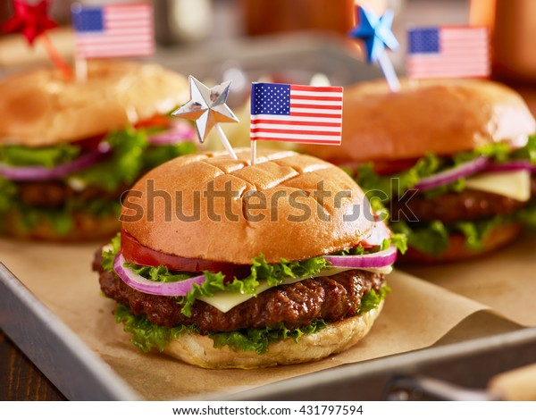 tray of burgers with 4th of july theme