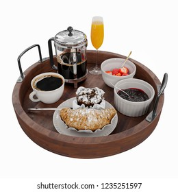 Tray of coffee, orange juce, croissant, cupcake, strawberry and jam