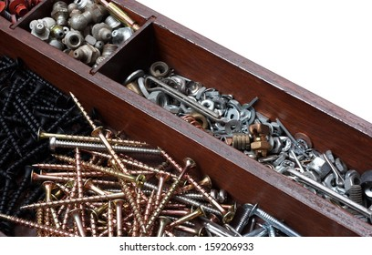 Tray of Construction Hardware. Screws, Nuts, Bolts, Nails, and Washers on a White Background
