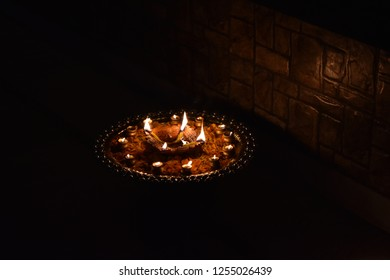 a tray of diyas during festival of deewali