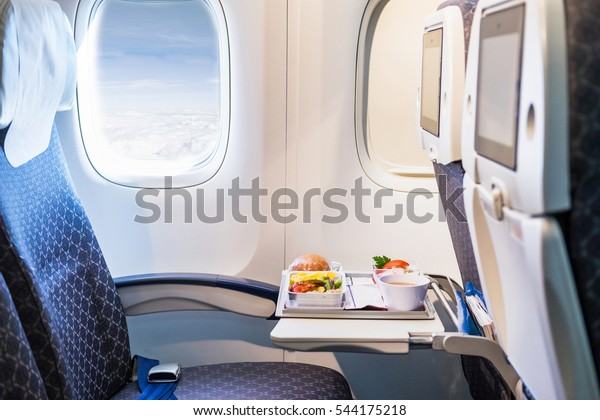Tray of food on the airplane